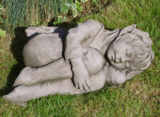 Faye sleeping fairy sculpture statue for the garden